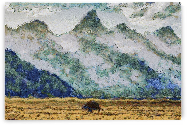 Mountains oil painting in Vincent van Gogh style. 1001 by ArtEastWest