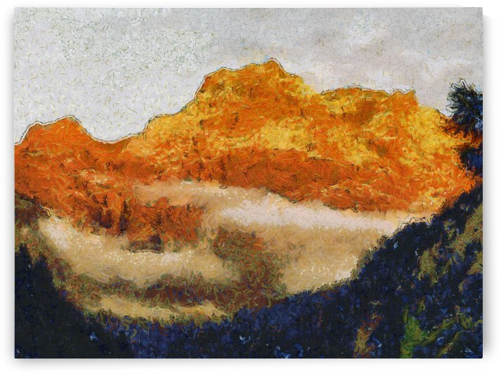 Mountains oil painting in Vincent van Gogh style.  1004 by ArtEastWest