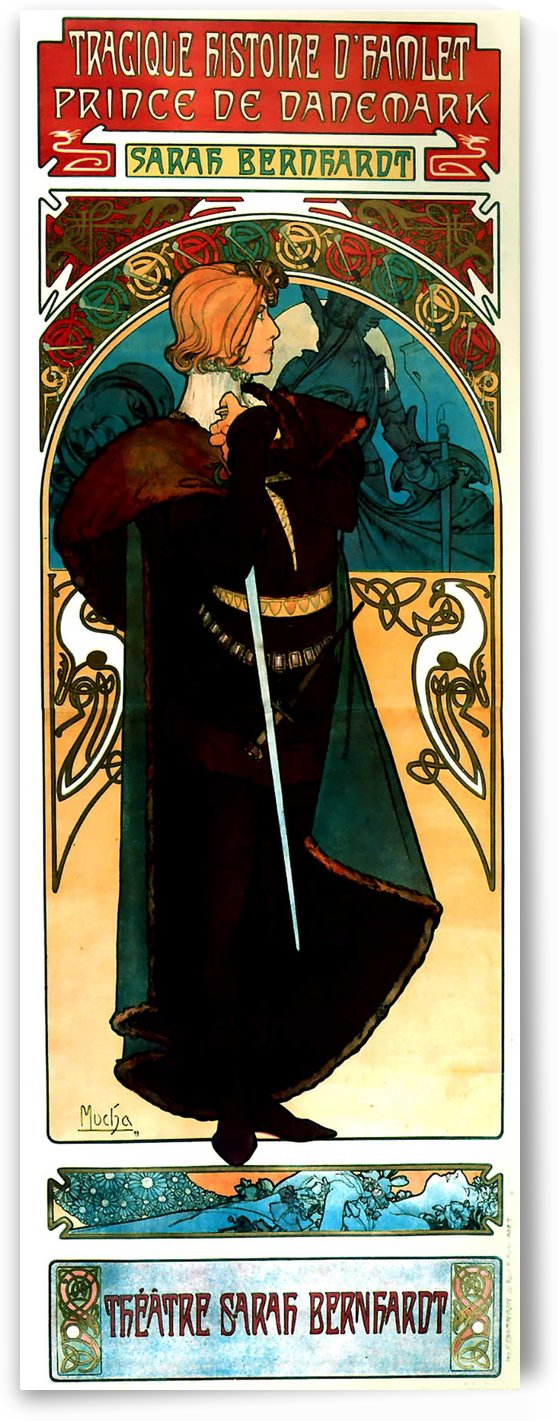 Mucha Sarah Bernhardt Hamlet Poster 1899 by VINTAGE POSTER