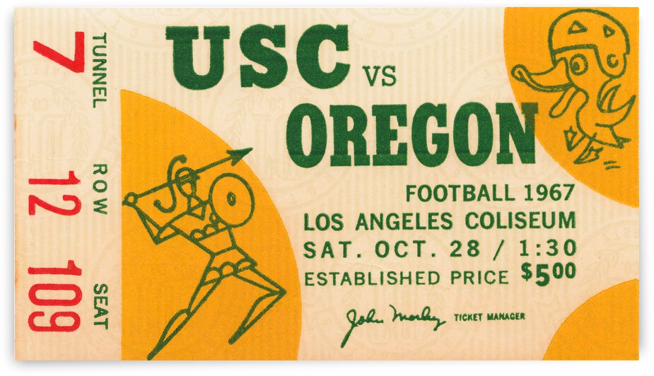1967 USC vs. Oregon Football Ticket Canvas by Row One Brand