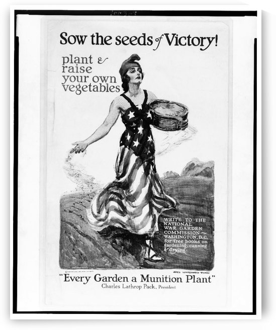 Sow the seeds of victory Black and white by VINTAGE POSTER