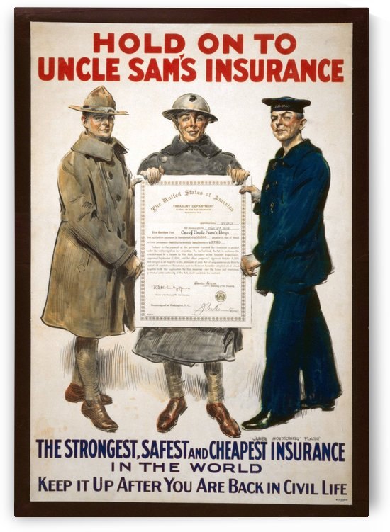 Hold on to Uncle Sam Insurance by VINTAGE POSTER