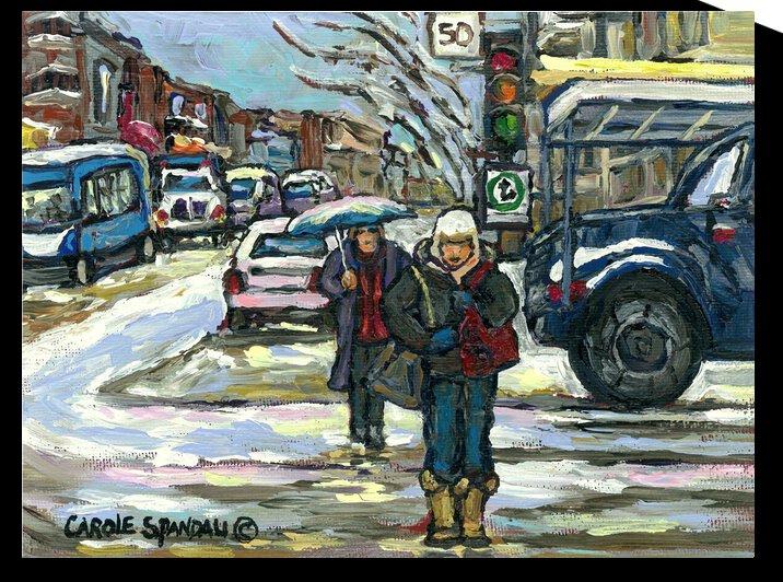 MONTREAL WINTER SCENE CROSSING COTE ST CATHERINE ROAD  by Carole  Spandau