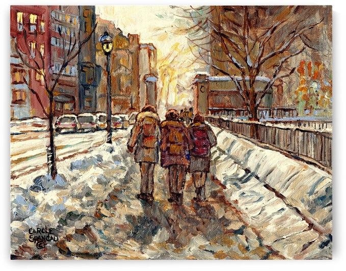 MONTREAL WINTER SCENE MCGILL WINTER WALK NEAR RODDICK GATES by Carole  Spandau