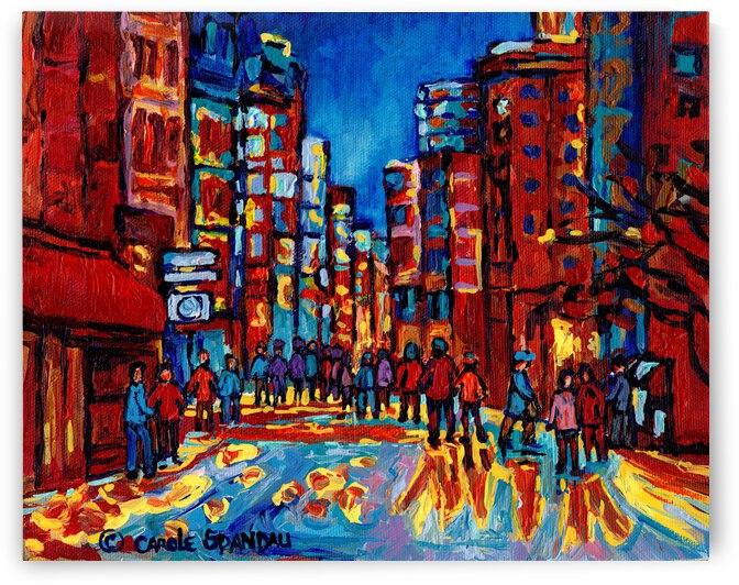 DOWNTOWN MONTREAL STREET SCENE AFTER THE RAIN  by Carole  Spandau