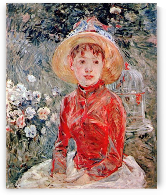 Young girl with cage by Morisot by Morisot