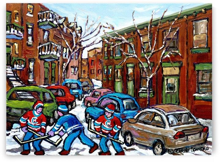 RUE GRAND TRUNK MONTREAL WINTER HOCKEY SCENE by Carole  Spandau