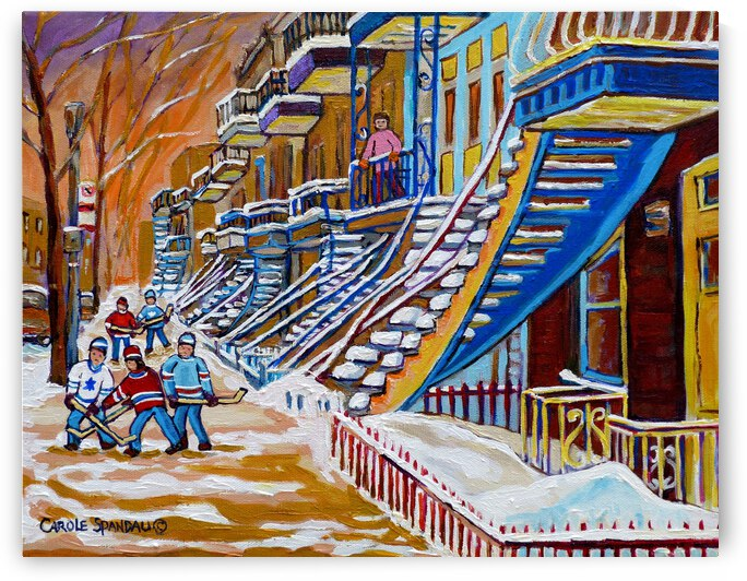 MONTREAL WINTER SCENE YELLOW STAIRCASE HOCKEY ART by Carole  Spandau