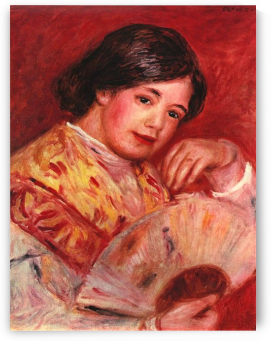 Young girl with fan by Renoir by Renoir