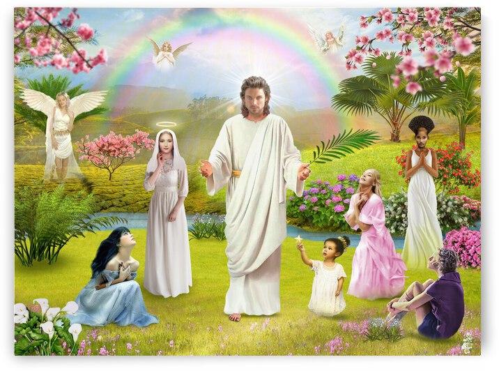 God Angel Jesus Christ and the Virgin Mary by Radiy Bohem