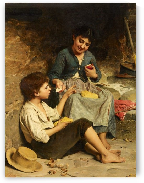 Two children with bread and apples by Luigi Bechi