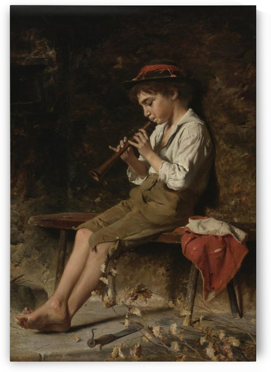 Boy playing clarinet by Luigi Bechi