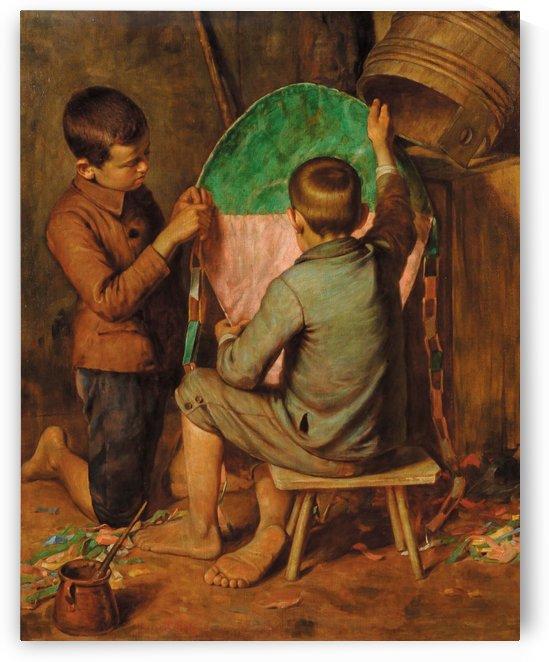 Bambini che costruiscono aquilone by Luigi Bechi