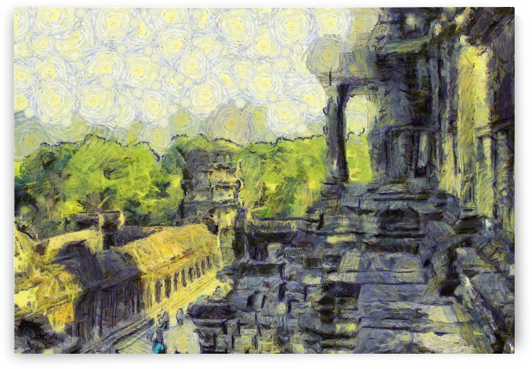 CAMBODIA Angkor Wat oil painting in Vincent van Gogh style. 130 by Cambodia painting
