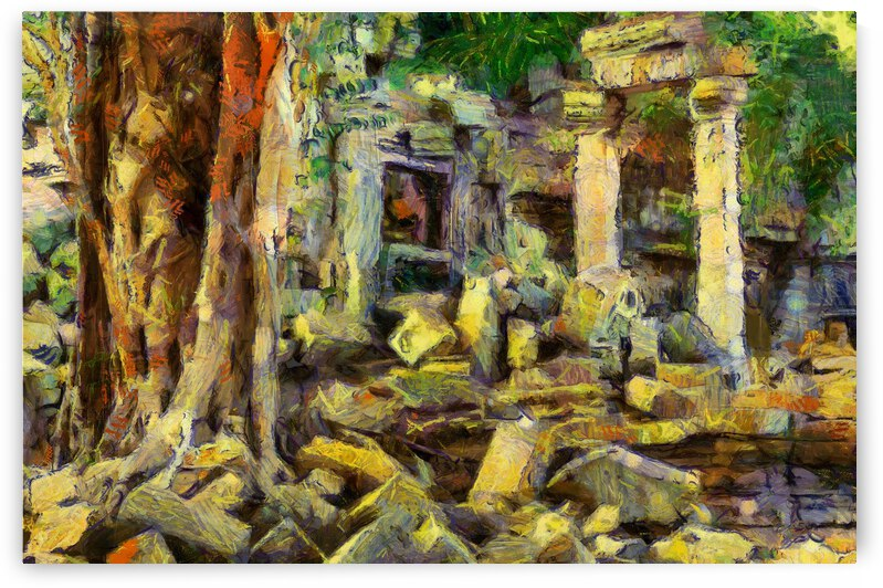 CAMBODIA Angkor Wat oil painting in Vincent van Gogh style. 148 by Cambodia painting