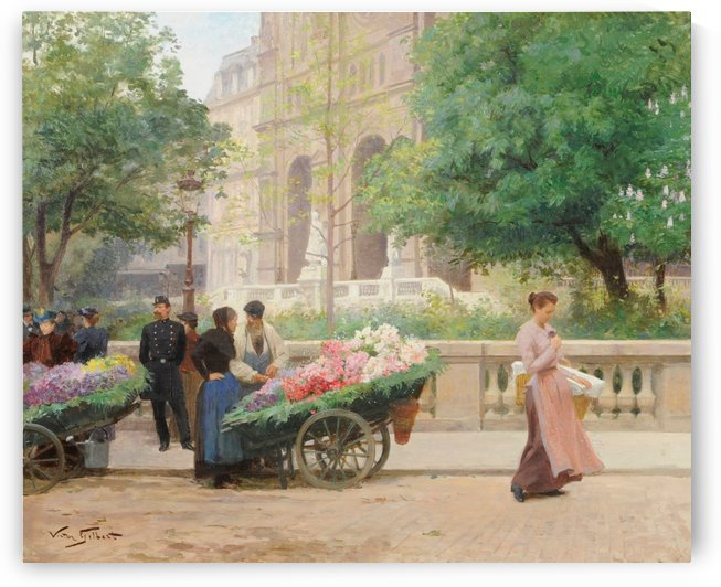 Flower sellers by Victor Gilbert
