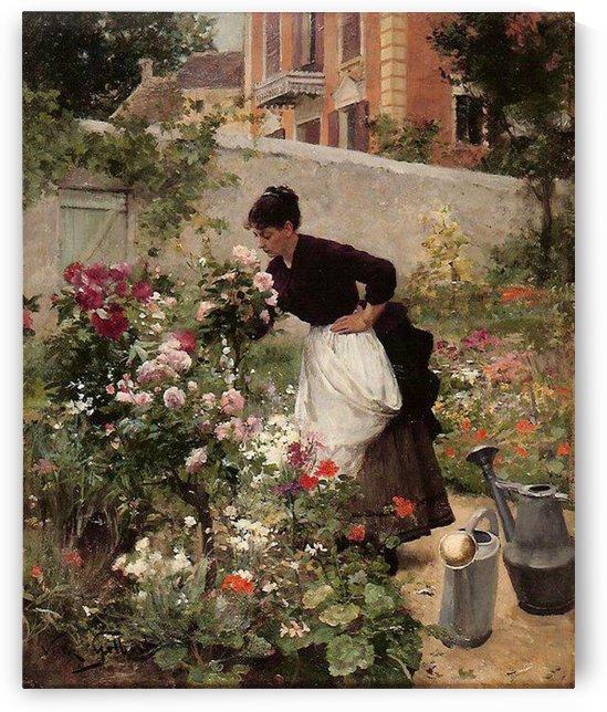 Jeune femme dans le jardin by Victor Gilbert