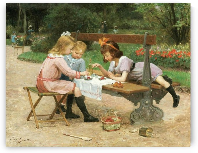 Children eating cherries by Victor Gilbert