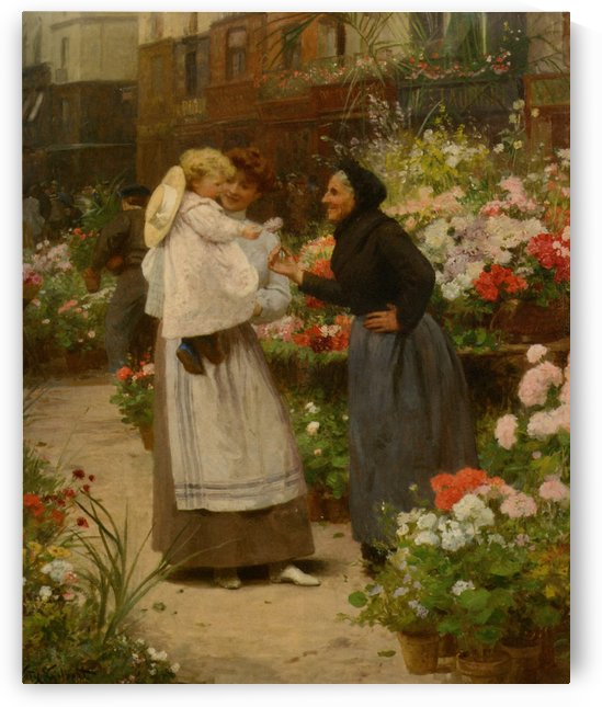 Flower offering to a child by Victor Gilbert