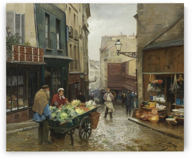 Market on the Rue Mouffetard, Paris by Victor Gilbert