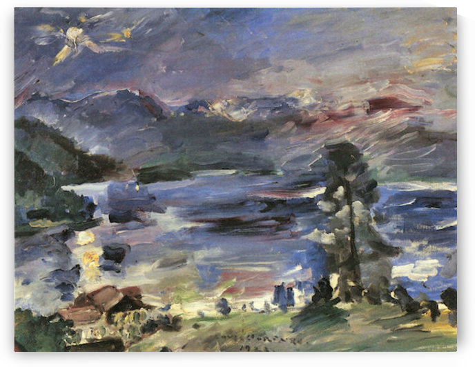 Walchensee with rising moon by Lovis Corinth by Lovis Corinth