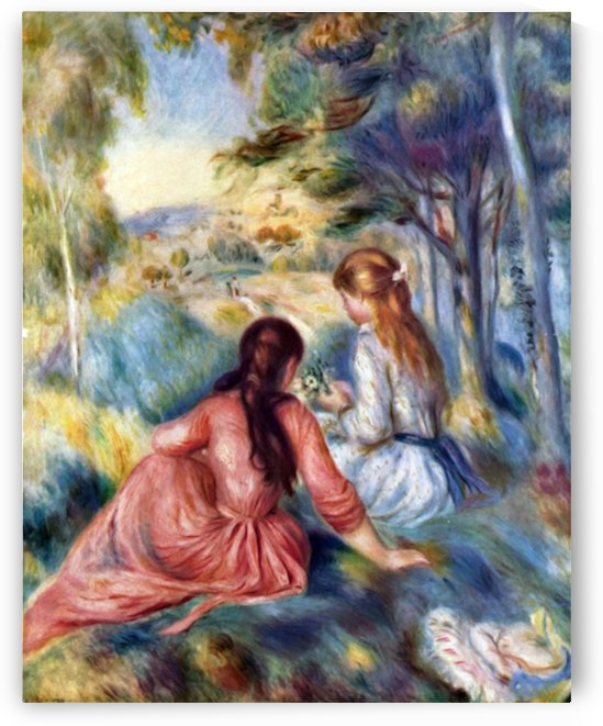 Young girls in the meadow by Renoir by Renoir
