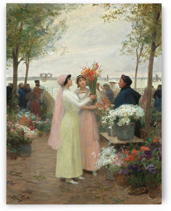 Elegantes au Marche des fleurs by Victor Gilbert