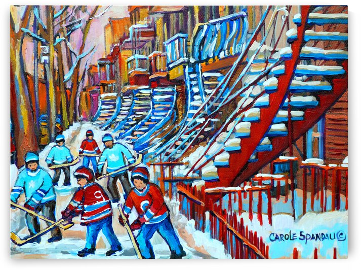 MONTREAL WINTER SCENE BOYS PLAYING STREET HOCKEY NEAR WINDING STAIRCASE by Carole  Spandau