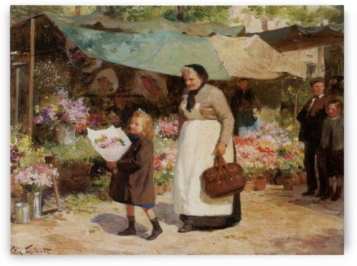 Matin lumineux avec fleurs by Victor Gilbert