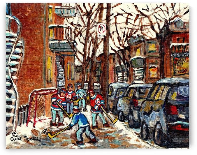 MONTREAL WINTER SCENE WITH STREET HOCKEY NEAR TALL STAIRCASE  by Carole  Spandau
