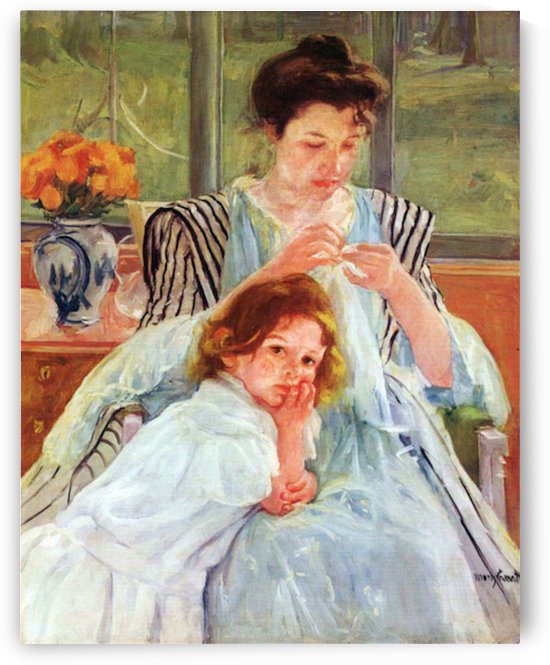 Young mother sewing by Cassatt by Cassatt