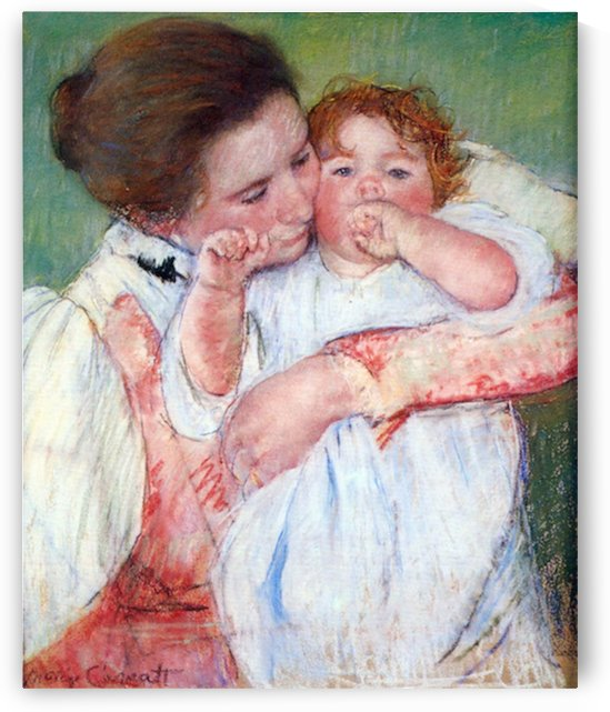 Young mothers embrace by Cassatt by Cassatt