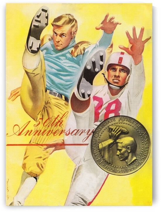 1955 College Football Fiftieth Anniversary Program Cover Art by Row One Brand
