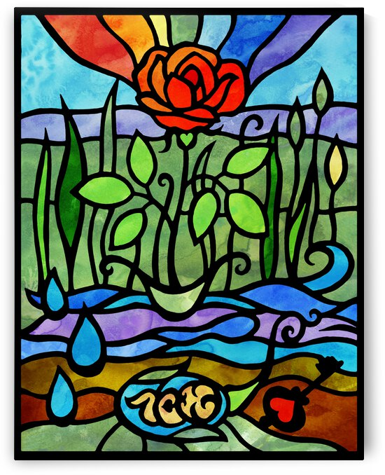 The Seed Of Love In Rose Garden Stained Glass Watercolor Tiffany Style by Irina Sztukowski