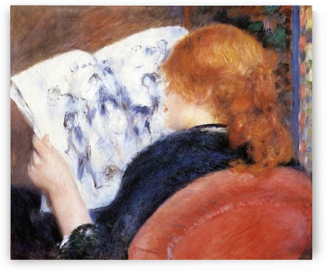 Young woman reads illustrated journal by Renoir by Renoir