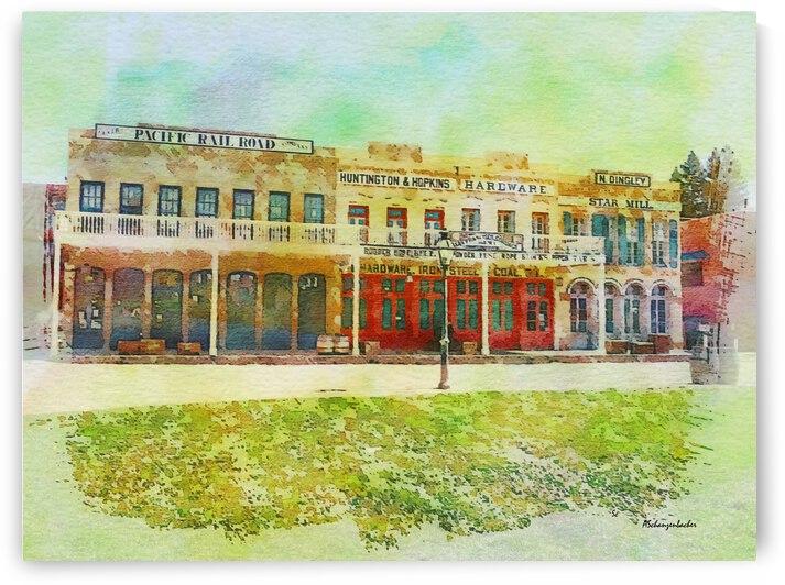Old Town Sacramento Waterfront Boardwalk Railroad Depot and Hardware Store by Aurelia Schanzenbacher Sisters Fine Arts