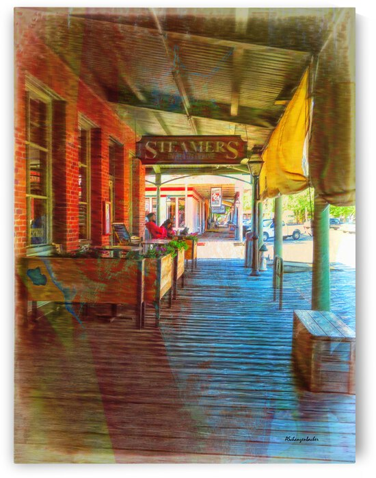 Old Sacramento Waterfront Boardwalk - Steamer Cafe  by Aurelia Schanzenbacher Sisters Fine Arts