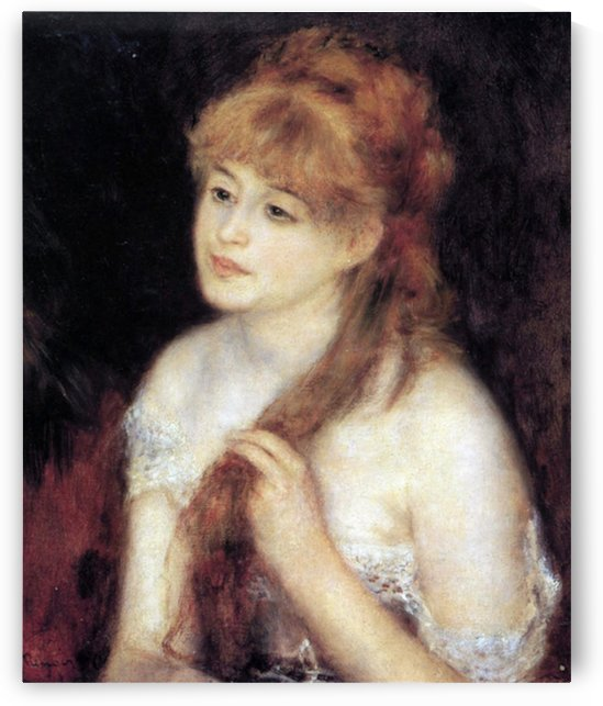 Young woman strokes her hair by Renoir by Renoir