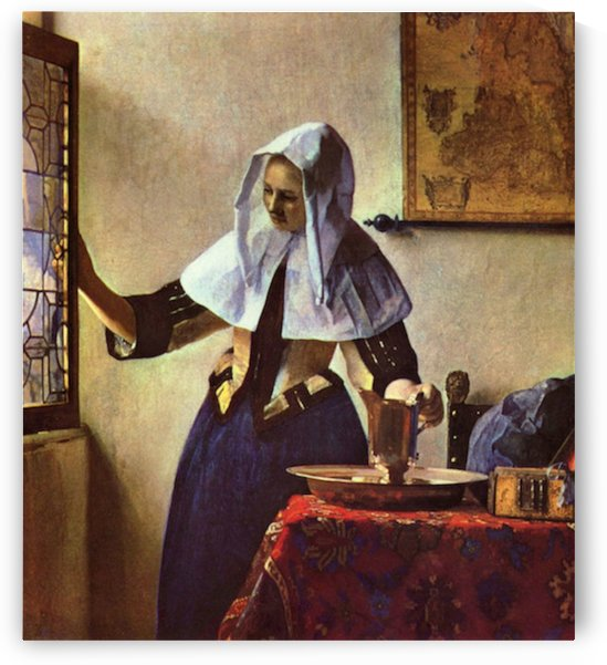 Young woman with a water jug at the window by Vermeer by Vermeer