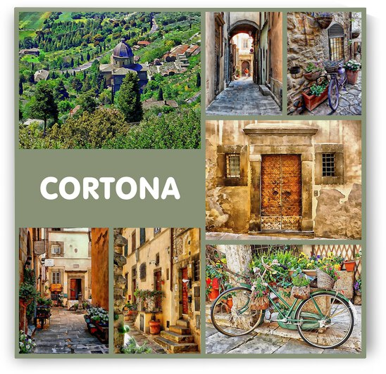 Cortona Collage With Name by Dorothy Berry-Lound
