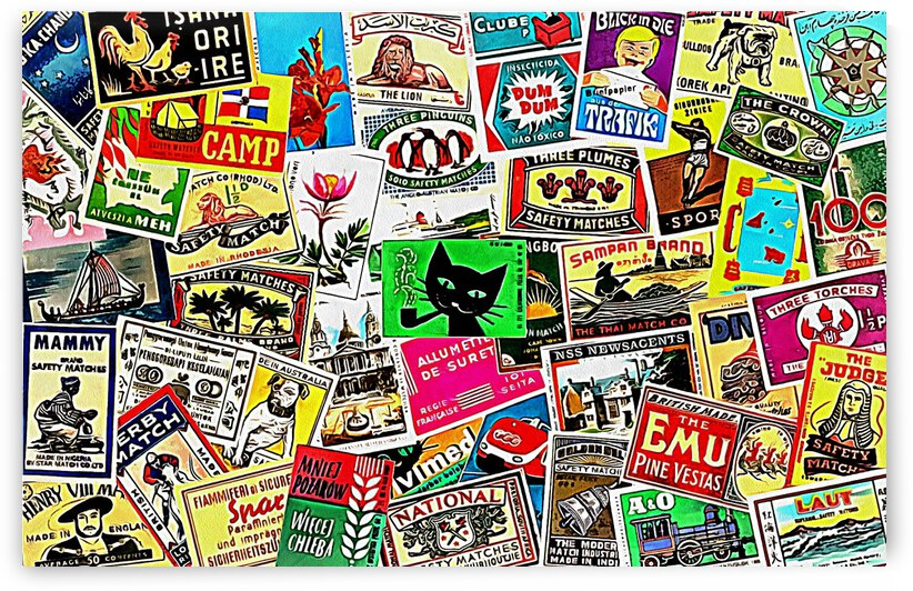 Matchbox Label Collage by Dorothy Berry-Lound