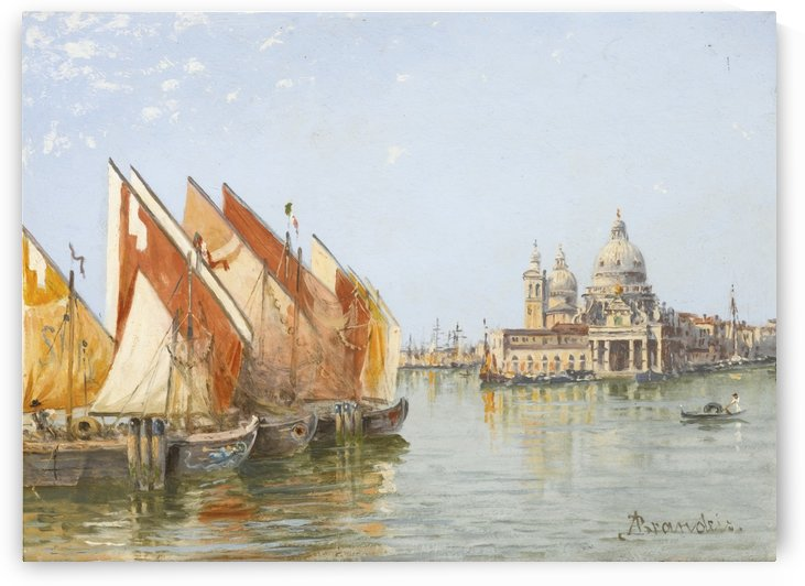Fishing boats along a canal in Venice by Antonietta Brandeis