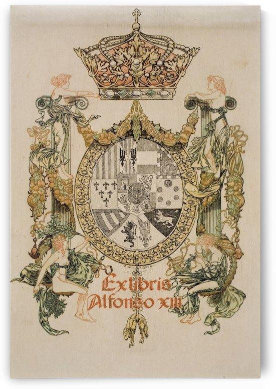Alexandre de Riquer - Book-plate of Alfons XIII by VINTAGE POSTER