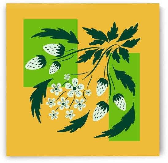 Folk floral art print  Flowers abstract art  poster  by Eskimos