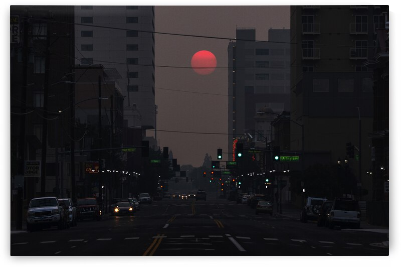 Red Sun Cityscape by Evan Petty Photography