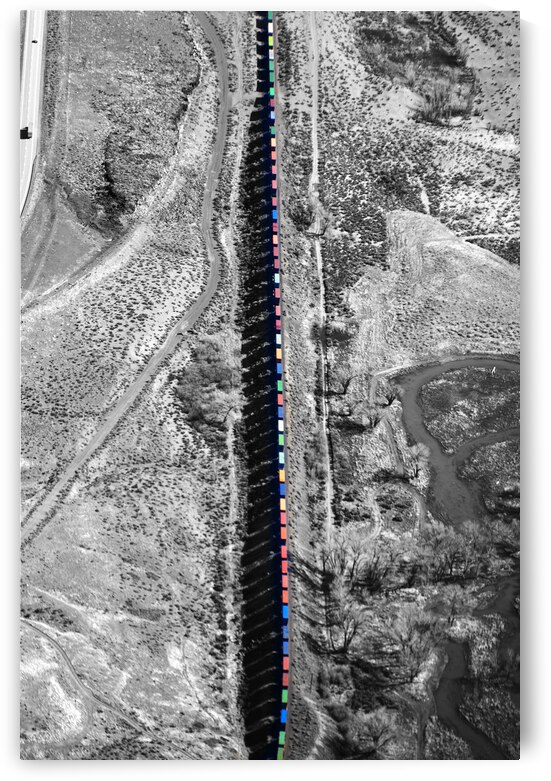 Train with Colorful Boxcars and Shadows by Evan Petty Photography
