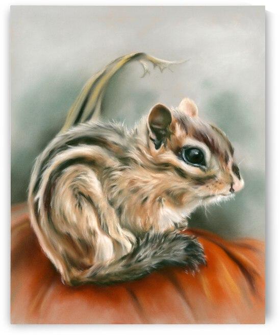Chipmunk Sitting on a Pumpkin by MM Anderson