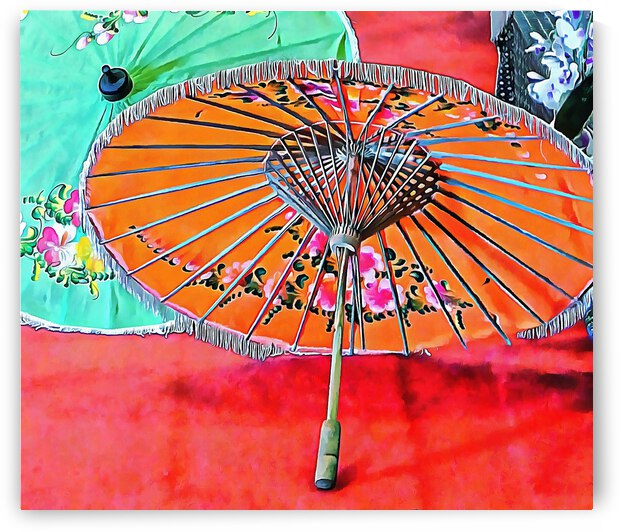 Orange and Green Oriental Parasols by Dorothy Berry-Lound