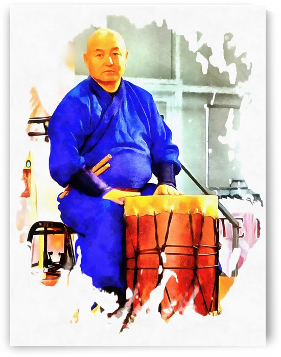 Mongolian Drummer Waiting to Perform by Dorothy Berry-Lound
