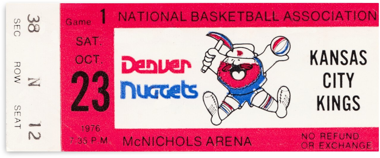 1976 Denver Nuggets First NBA Home Game by Row One Brand